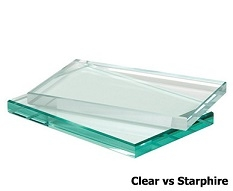 Clear (standard) shower glass on bottom; Starphire shower glass on top